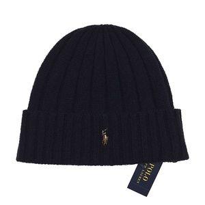 Polo Ralph Lauren Mens Wool Blend Navy Beanie Hat